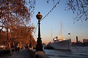 Evening sun lights up the trees on Embankment alongside the River Thames.