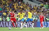Paulinho of Brazil is tackled by Nemanja Matic of Serbia during the 2018 FIFA World Cup Russia, Group E football match between Erbia and Brazil on June 27, 2018 at Spartak Stadium in Moscow, Russia - Photo Tarso Sarraf / FramePhoto / ProSportsImages / DPPI