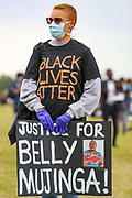 Demonstrators chant Wednesday, June 3, 2020, at Hyde Park in London, during a protest over the death of George Floyd, who died on May 25 after he was restrained by Minneapolis police in the United States. (Photo/ Vudi Xhymshiti)
