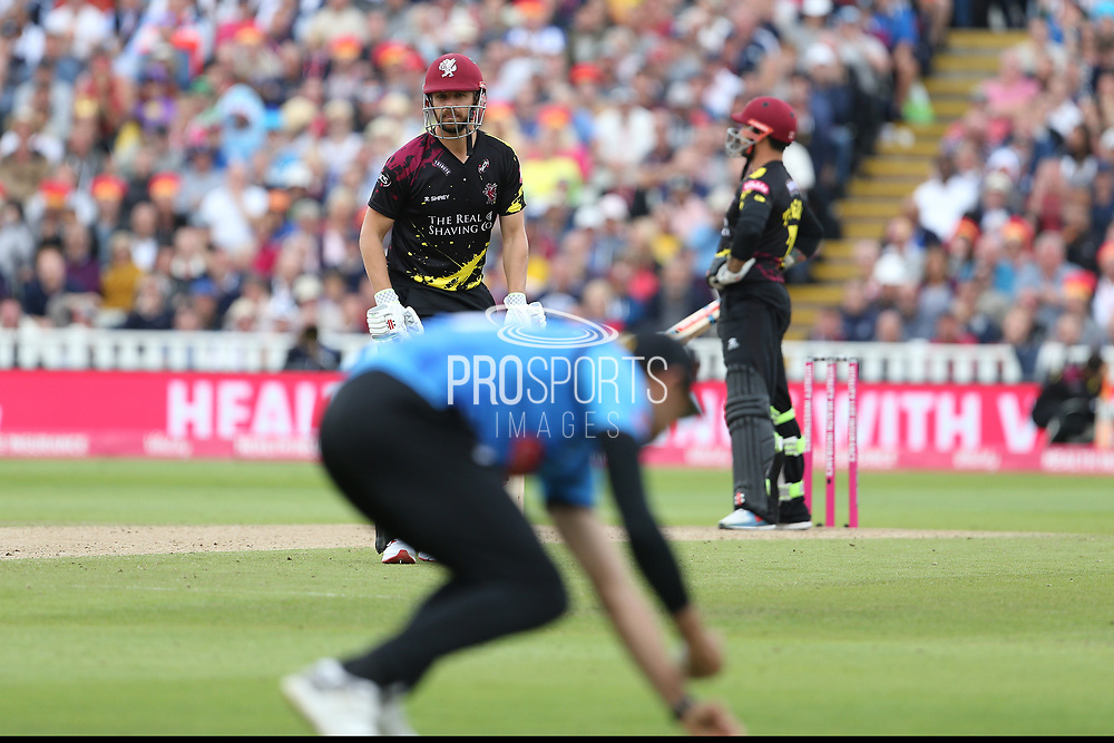 Sussex's David Wiese catches Somersets James Hildreth during the Vitality T20 Finals Day semi final 2018 match between Sussex Sharks and Somerset at Edgbaston, Birmingham, United Kingdom on 15 September 2018.