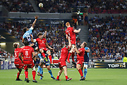 Julien Puricelli of Lyon and Benjamin Fall of Montpellier during the French championship Top 14 Rugby Union semi-final match between Montpellier v Lyon OU on May 25, 2018 at Groupama stadium in Lyon, France - Photo Romain Biard / Isports / ProSportsImages / DPPI