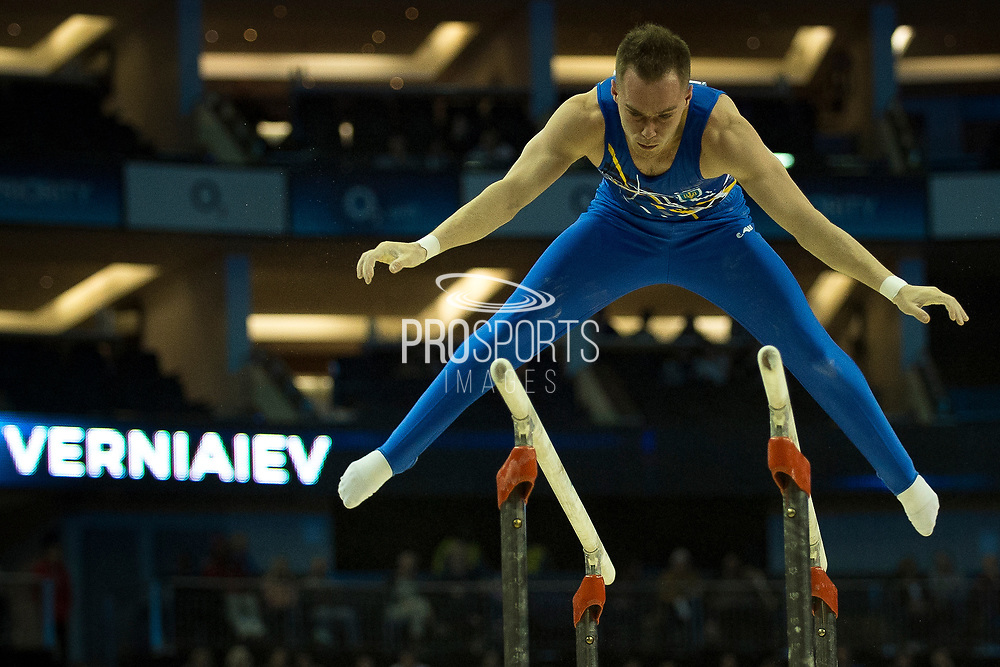 Oleg Verniaiev of the Ukraine (UKR)on the Parallel bars on his way to a Gold Medal  during the iPro Sport World Cup of Gymnastics 2017 at the O2 Arena, London, United Kingdom on 8 April 2017. Photo by Martin Cole.