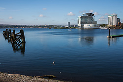 Cardiff, UK. 2nd May, 2017. Modern apartment blocks are viewed across Cardiff Bay.