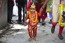 August 8, 2017 - Kathmandu, Nepal - A boy dressed as a Hindu Deity taking part in a procession to celebrate Gai Jatra or Cow Festival in Basantapur, Kathmandu, Nepal. People from the Newar community commemorate the festival to wish peace for their deceased family members from preceding years. (Credit Image: © Skanda Gautam via ZUMA Wire)