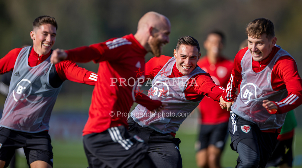 CARDIFF, WALES - Wednesday, October 7, 2020: Wales' Harry Wilson, Connor Roberts and David Brooks during a training session at the Vale Resort ahead of the International Friendly match against England. (Pic by David Rawcliffe/Propaganda)