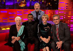 (Left-right) Judi Dench, Jamie Foxx, Graham Norton, Kristen Wiig, and Steve Carrell during filming of the Graham Norton Show at the London Studios, to be aired on BBC One on Friday evening.