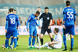 Filip Bradaric #28 of HNK Rijeka and Sammir #20 of GNK Dinamo Zagreb during football match between HNK Rijeka and GNK Dinamo Zagreb in Round #27 of 1st HNL League 2016/17, on November 5, 2016 in Rujevica stadium, Rijeka, Croatia. Photo by Grega Valancic / Sportida