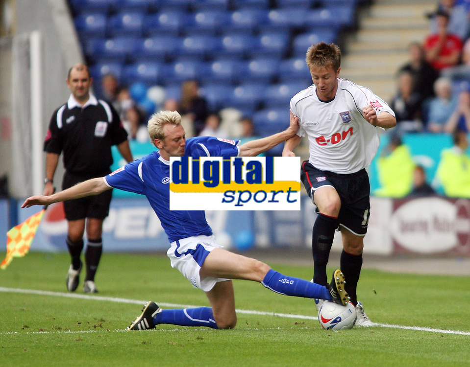 Photo: Chris Ratcliffe.<br />Leicester City v Ipswich Town. Coca Cola Championship. 12/08/2006.<br />Dean Bowditch (R) of Ipswich clashes with Stephen Hughes of Leicester.
