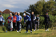 Steven Fisk (USA), Cole Hammer (USA), Thomas Plumb (GB&I) and Thomas Sloman (GB&I) on the 6th tee during Day 2 Foursomes of the Walker Cup, Royal Liverpool Golf CLub, Hoylake, Cheshire, England. 08/09/2019.<br /> Picture Thos Caffrey / Golffile.ie<br /> <br /> All photo usage must carry mandatory copyright credit (© Golffile   Thos Caffrey)