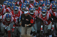 Mississippi Rebels head coach Hugh Freeze leads the team onto the field against Vanderbilt Commodores at Vaught-Hemingway Stadium at Ole Miss in Oxford, Miss. on Saturday, September 26, 2015. (AP Photo/Oxford Eagle, Bruce Newman)