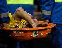 Photo: RIchard Lane.<br />PSV Eindhoven v Liverpool. UEFA Champions League, Quarter Final, 1st Leg. 03/04/2007. Liverpool's Aurelio Fabio is stretchered off.