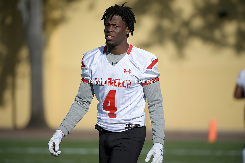Team Armour receiver Jerry Jeudy (4) works out during a practice for the Under Armour All-America football game in Lake Buena Vista, Fla., Friday, Dec. 30, 2016. (Photo by Phelan M. Ebenhack)