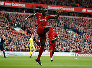 Sadio Mane of Liverpool celebrates his goal (2-1) during the Premier League match at Anfield, Liverpool. Picture date: 7th March 2020. Picture credit should read: Darren Staples/Sportimage