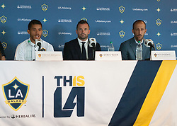 July 28, 2017 - Carson, California, U.S - Jonathan dos Santos is presented to the media during a  press conference after joining the L.A. Galaxy at StubHub  Center in Carson, California on Friday, July 28, 2017. (L-R)  Jonathan dos Santos, L.A. Galaxy president Chris Klein,   and General Manager, Peter Vagenas. (Credit Image: © Prensa Internacional via ZUMA Wire)