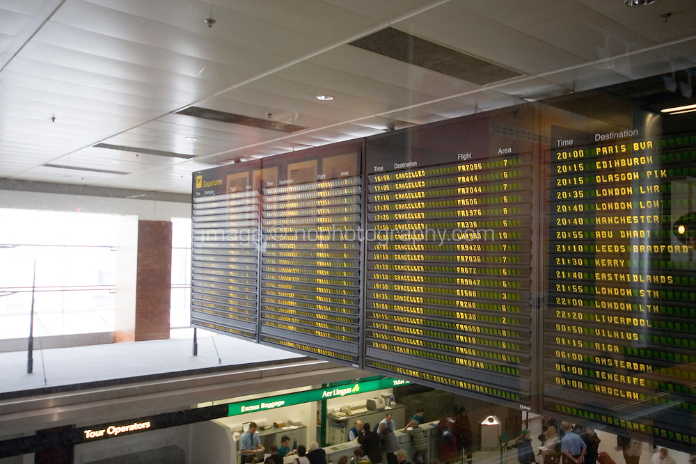 April 18th 2010 Screens showing flights cancelled at Dublin Airport Ireland due to the ash cloud from a volcano in Eyjafjallajokull in Iceland