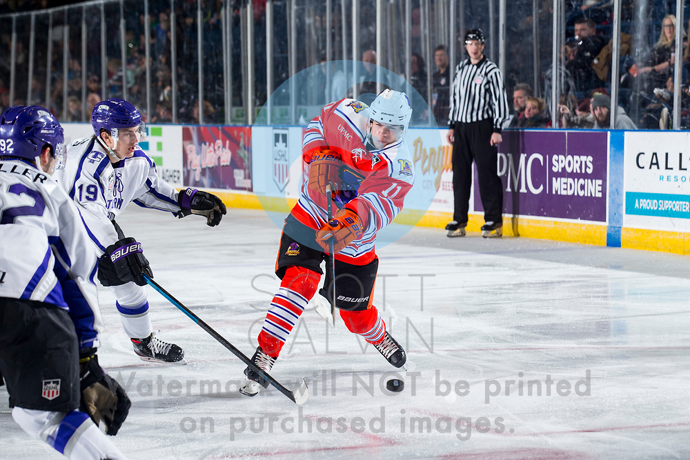 Youngstown Phantoms win 5-3 against the Tri-City Storm at the Covelli Centre on January 18, 2020.<br /> <br /> Georgi Merkulov, forward, 11