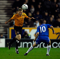 Photo: Jed Wee/Sportsbeat Images.<br /> Hull City v Chelsea. Carling Cup. 26/09/2007.<br /> <br /> Hull's Andy Dawson (L) clears with a header.