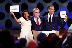 Handout photo - President of IOC Thomas Bach announces results of election to Paris Mayor Anne Hidalgo and Los Angeles Mayor Eric Garcetti during the Olympic and Paralympic Games 2024 host city election, Lima, Peru, September 13, 2017. Photo by Paris 2024/ABACAPRESS.COM