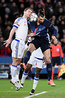 Serbian defender Branislav Ivanovic of Chelsea and Swedish forward Zlatan Ibrahimovic of Paris Saint Germain in action during the UEFA Champions League football match round of 16, 1st leg, between Paris Saint Germain and Chelsea on February 16, 2016 at Parc des Princes stadium in Paris, France - Photo Jean Marie Hervio / Regamedia / DPPI