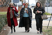 CHARLOTTESVILLE, VA - FEBRUARY 14: Friends and family of the Love family walk to the courthouse for the George Huguely trial. Huguely was charged in the May 2010 death of his girlfriend Yeardley Love. She was a member of the Virginia women's lacrosse team. Huguely pleaded not guilty to first-degree murder. (Credit Image: © Andrew Shurtlef