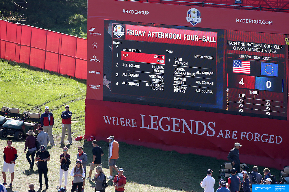 Ryder Cup 2016. Day One. The scoreboard on the first tee for the Friday afternoon four-ball competition during the Ryder Cup at Hazeltine National Golf Club on September 30, 2016 in Chaska, Minnesota.  (Photo by Tim Clayton/Corbis via Getty Images)