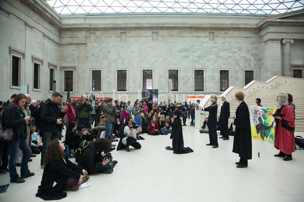 BP-or-not-BP stages another of their clandestine performances at the British Museum to highlight the fact that the museum is taking money from the oil company BP. The play is about Sherlock Homes and Dr Watson who catch BP and put it on trial with procecutor and evidence of the oil spills that BP has been responsible for inthe past. Eventually BP is found guilty and ejected from the museum.