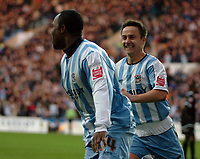 Photo: Ed Godden.<br />Coventry City v Derby County. Coca Cola Championship. 21/01/2006. <br />Dennis Wise and Stern John (L) celebrate for Coventry, after Stern John extends the lead on Derby.