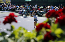 March 7, 2019 - Los Angeles, California, U.S - Lin Zhu of China, returns the ball to Mona Barthel of Germany, during the women singles first round match of the BNP Paribas Open tennis tournament on Thursday, March 7, 2019 in Indian Wells, California. Barthel  won 3-1. (Credit Image: © Ringo Chiu/ZUMA Wire)