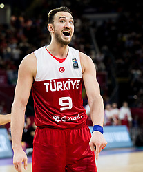 Semih Erden of Turkey during basketball match between National Teams of Spain and Turkey at Day 11 in Round of 16 of the FIBA EuroBasket 2017 at Sinan Erdem Dome in Istanbul, Turkey on September 10, 2017. Photo by Vid Ponikvar / Sportida