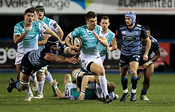 Connacht's Thomas Farrell makes a break<br /> <br /> Photographer Simon King/Replay Images<br /> <br /> Guinness Pro14 Round 9 - Cardiff Blues v Connacht Rugby - Friday 24th November 2017 - Cardiff Arms Park - Cardiff<br /> <br /> World Copyright © 2017 Replay Images. All rights reserved. info@replayimages.co.uk - www.replayimages.co.uk