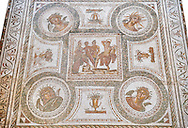 Roman mosaic depicting in its centre panel the victory of Apollo who is being crowned Marsyas in the mytrhical legend of The Four Seasons. Late 2nd centruy AD from Thysdrus (El Jem). Roman mosaics from the north African Roman province of Africanus . Inv 529 Bardo Museum, Tunis, Tunisia. .<br /> <br /> If you prefer to buy from our ALAMY PHOTO LIBRARY  Collection visit : https://www.alamy.com/portfolio/paul-williams-funkystock/roman-mosaic.html - Type -   Bardo    - into the LOWER SEARCH WITHIN GALLERY box. Refine search by adding background colour, place, museum etc<br /> <br /> Visit our ROMAN MOSAIC PHOTO COLLECTIONS for more photos to download  as wall art prints https://funkystock.photoshelter.com/gallery-collection/Roman-Mosaics-Art-Pictures-Images/C0000LcfNel7FpLI