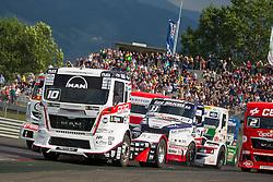 06.07.2013, Red Bull Ring, Spielberg, AUT, Truck Race Trophy, Renntag 1, im Bild Norbert Kiss, (HUN, Oxxo Energy Truck Race Team, #10, 2. Platz), David Vrsecky, (CZE, Buggyra International Racing Team, #33), Antonio Albacete, (ESP, Equipo Cepsa, #2) // during the Truck Race Trophy 2013 at the Red Bull Ring in Spielberg, Austria, 2013/07/06, EXPA Pictures © 2013, PhotoCredit: EXPA/ M.Kuhnke