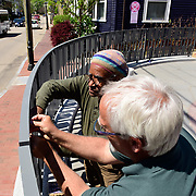 Taken on May 15, 2015, during final stages of construction of the African Burying Ground Memorial in Portsmouth NH. On this day the decorative tiles were installed in the fencing at the south end of the memorial.