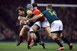 South Africa's Francois Venter is tackled by Wales' Scott Williams during the Autumn International match at the Principality Stadium, Cardiff.