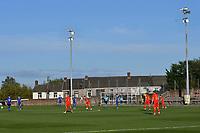 Football - 2023 UEFA U21 Championship - Qualifying - Group E - Wales vs Moldova - Steboneath Park, Llanelli<br /> <br /> Postolachi kicks off view of ground<br /> <br /> COLORSPORT/WINSTON BYNORTH