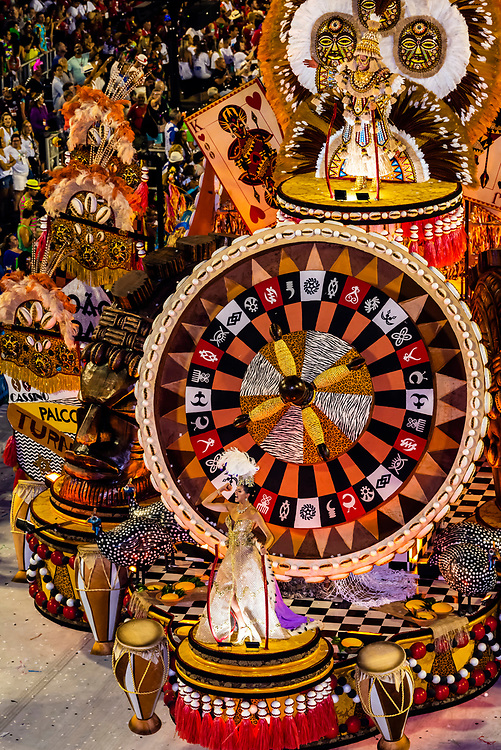 Floats in the Carnaval parade of Grande Rio samba school in the Sambadrome, Rio de Janeiro, Brazil.