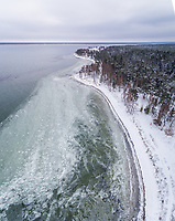 Aerial view of the frozen sea on the coast of Kasmu in Estonia.