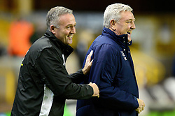 Aston Villa manager Steve Bruce and Wolverhampton Wanderers manager Paul Lambert share a joke before the game  - Mandatory by-line: Dougie Allward/JMP - 14/01/2017 - FOOTBALL - Molineux - Wolverhampton, England - Wolverhampton Wanderers v Aston Villa - Sky Bet Championship
