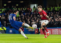 Football - 2018 / 2019 Emirates FA Cup - Fifth Round: Chelsea vs. Manchester United <br /> <br /> Pedro (Chelsea FC)  tries to volley in the rebounded shot at Stamford Bridge<br /> <br /> COLORSPORT/DANIEL BEARHAM
