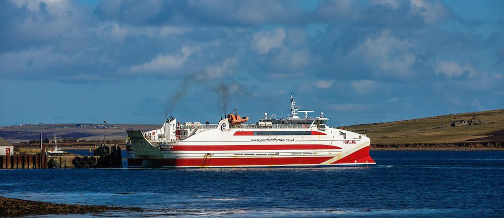 Pentland Ferries' mv Pentalina arriving at St Margaret's Hope, South Ronaldsay, Orkney Islands, Scotland<br /> <br /> (c) Andrew Wilson | Edinburgh Elite media