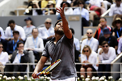 May 29, 2019 - Paris, France - France's Jo-Wilfried TSONGA serves a ball during the men's singles second round of the French Open tennis tournament against Japan's Kei NISHIKORI at Roland Garros in Paris, France on May 29, 2019. (Credit Image: © Ibrahim Ezzat/NurPhoto via ZUMA Press)