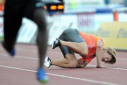 June 4, 2018 - Prague, Czech Republic - Dominik Zalesky of Czech Republic falls to the track after sustaining an injury during the men's 110 Hurdles during the Josef Odlozil Memorial Athletic Classic Meeting EA Premium in Prague in the Czech Republic. (Credit Image: © Slavek Ruta via ZUMA Wire)