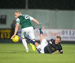 Falkirk's Craig Sibbald with Hibernian's David Gray. Falkirk 0 v 1 Hibernian, Scottish Championship game played 20/10/2015 at The Falkirk Stadium.