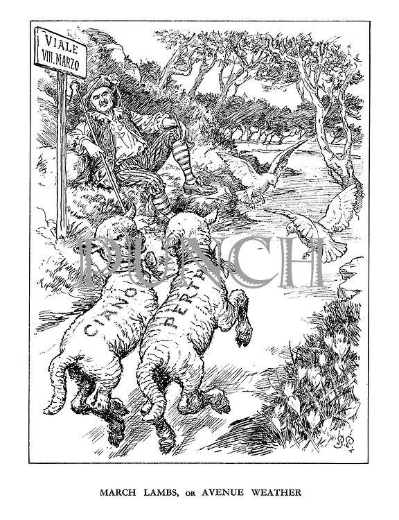 March Lambs, or Avenue Weather. (Neville Chamberlain as shepard to lambs Galeazzo Ciano and the Earl of Perth as the doves of peace flap ahead of them)