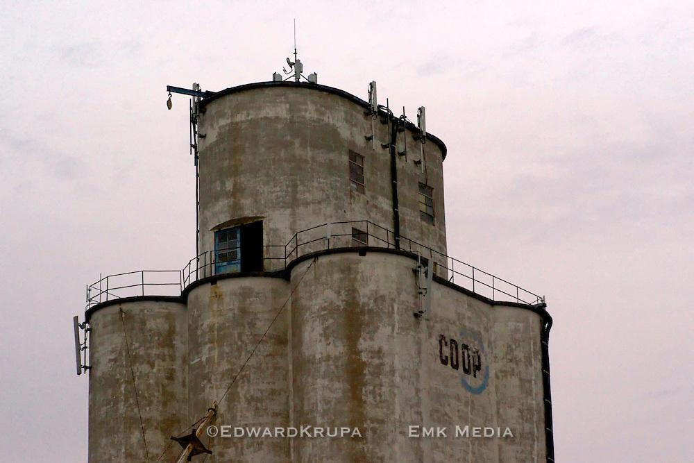 Rounded head house of an old grain elevator in Nebraska.