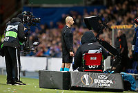 Football - 2019 / 2020 UEFA Europa League - Round of Sixteen, First Leg: Rangers vs. Bayer 04 Leverkusen<br /> <br /> The referee looks at the screen to check potential penalty claim, at Ibrox Stadium, Glasgow.<br /> <br /> COLORSPORT/BRUCE WHITE