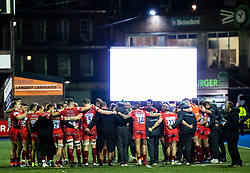 Leicester Tigers players huddle after the tight wn<br /> <br /> Photographer Simon King/Replay Images<br /> <br /> European Rugby Challenge Cup Round 2 - Cardiff Blues v Leicester Tigers - Saturday 23rd November 2019 - Cardiff Arms Park - Cardiff<br /> <br /> World Copyright © Replay Images . All rights reserved. info@replayimages.co.uk - http://replayimages.co.uk