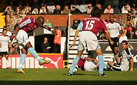 Photo: Frances Leader.<br />Fulham v West Ham. The Barlcays Premiership.<br />17/09/2005.<br />West Ham's Marlon Harewood scores the second gaol against Fulham