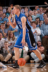 CHAPEL HILL, NC - MARCH 05: Mason Plumlee #5 of the Duke Blue Devils dribbles the ball while playing the North Carolina Tar Heels on March 05, 2011 at the Dean E. Smith Center in Chapel Hill, North Carolina. North Carolina won 67-81. (Photo by Peyton Williams/UNC/Getty Images) *** Local Caption *** Mason Plumlee