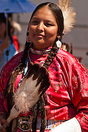 Traditional dancer, Crow Fair powwow, eagle fan, Crow Indian Reservation, Montana